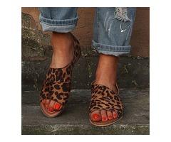 Animal Print Peep Toe Low Heel Shoes (1625404631)