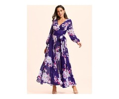 Floral Long Sleeve Maxi X-line Dress (01955403698)