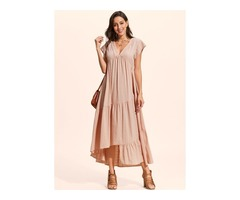 Solid Drop waist Short Sleeve High Low A-line Dress (01955402357)