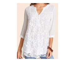 Solid Casual V-Neckline 3/4 Sleeves Blouses (01645404292)