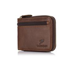 Men Genuine Leather Zipper Around Wallet