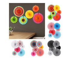 6 Pcs/Set Fiesta Paper Fans Pinwheel Wedding Party Wall Hanging Decorations