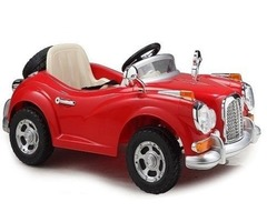 12V Child Ride on Toys CLASSIC CAR with Ignition Sound Remote, Songs, Doors