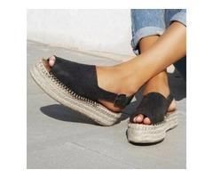 Buckle Peep Toe Flat Heel Shoes (1625400066)