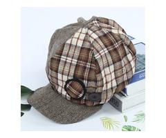 Women Patchwork Stripe Plaid Beret Caps Painter Newsboy Hat