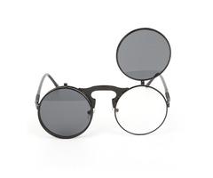 UV400 Men Women Retro Personality Metal Frame Flip Sunglass