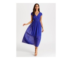 Solid Ruffles V-Neckline Midi A-line Dress (01955379832)