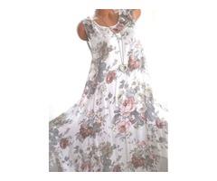 Floral Tunic Round Neckline Midi Shift Dress (1955382374)