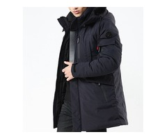 Winter Thick Warm Removable Hood Windproof Outdoor Parka