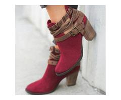Buckle Closed Toe Chunky Heel Shoes (1625325791)