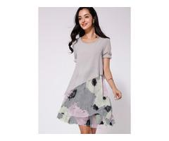 Floral Short Sleeve Midi A-line Dress (1955181882)