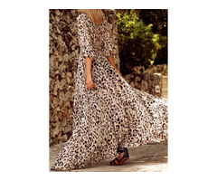 Animal Half Sleeve Maxi X-line Dress (1955141844)