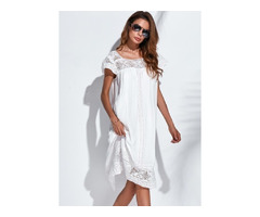 Solid Half Sleeve Knee-Length Shift Dress (1955131467)