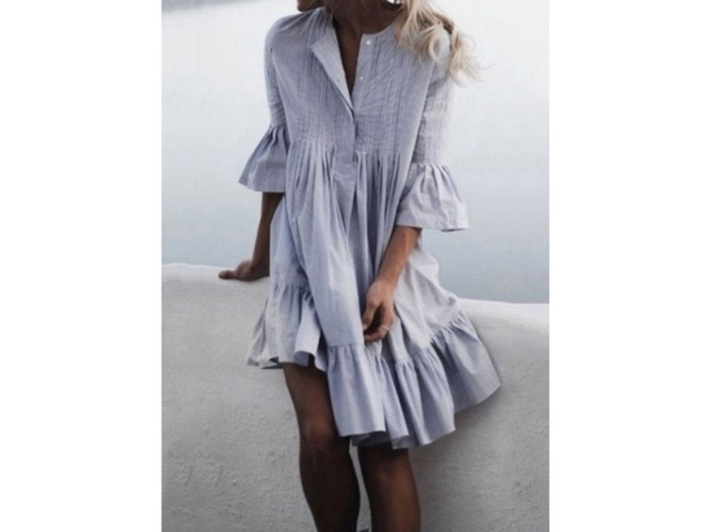 Solid Ruffles 3/4 Sleeves Knee-Length A-line Dress (1955252753). General Tunic Neutral Day Dresses Light Blue Round Neckline Spring Summer Cotton A-line Dress S M Knee-Length L 3/4 Slee... | free-classifieds-canada.com
