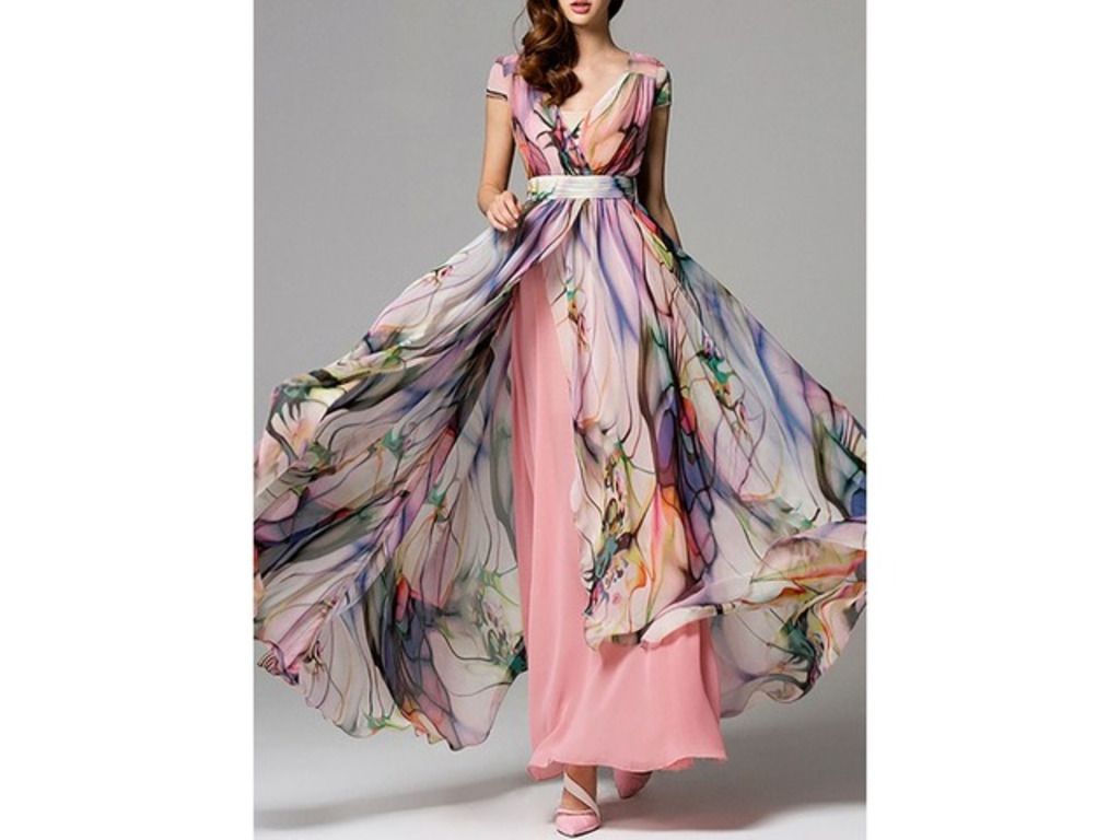 Floral Wrap Cap Sleeve Maxi X-line Dress (1955261303). General Pink Vacation Dresses X-line Dress Sashes Pink Spring Chiffon Maxi Summer Wrap Floral V-Neckline Fall Cap Sleeve... | free-classifieds-canada.com