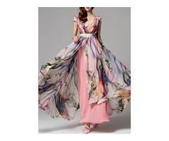 Floral Wrap Cap Sleeve Maxi X-line Dress (1955261303) | free-classifieds-canada.com