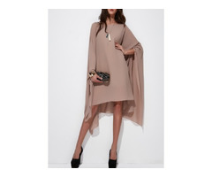 Solid Long Sleeve High Low Shift Dress (1955128784)