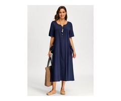 Plus Size Solid Pockets Half Sleeve Midi Shift Dress (01955395590)