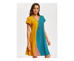 Color Block Short Sleeve Knee-Length A-line Dress (01955393294)