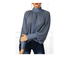 Solid Elegant High Neckline Long Sleeve Blouses (1645395077)