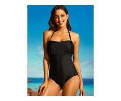 Plus Size Polyester Halter One-piece Plus Size Swimwear Swimwear (30015394942)