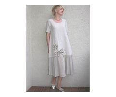 Plus Size Color Block Round Neckline Short Sleeve Midi Shift Dress (1955393731)