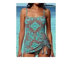 Plus Size Polyester Color Block Tankinis Plus Size Swimwear Swimwear (30015396767)