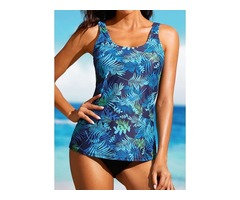 Plus Size Polyester Color Block Tankinis Plus Size Swimwear Swimwear (30015397073)