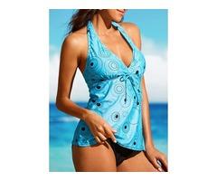 Plus Size Polyester Halter Color Block Tankinis Plus Size Swimwear Swimwear (30015397075)