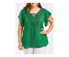 Plus Size Solid Elegant V-Neckline Short Sleeve Blouses (1645397526)