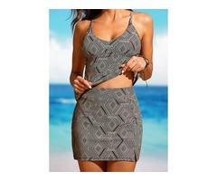 Plus Size Polyester Color Block Tankinis Plus Size Swimwear Swimwear (30015397072)