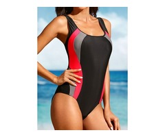 Plus Size Polyester Color Block One-piece Plus Size Swimwear Swimwear (30015397076)
