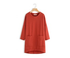 Women Casual Loose Crew Neck Long Sleeve Knit Dress