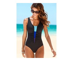 Polyester Halter Color Block One-piece Swimwear (30015398120)