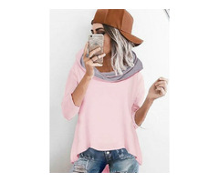 Hooded Color Block Loose Long None Sweaters (1675349317)