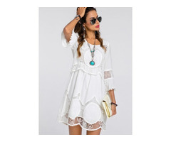 Solid Embroidery 3/4 Sleeves Knee-Length Shift Dress (01955262213)