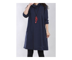 Solid Pockets Long Sleeve Knee-Length A-line Dress (1955185297)