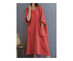 Solid Pockets Tunic Round Neckline Shift Dress (1955402592)