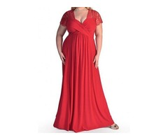 Plus Size Solid V-Neckline Cap Sleeve Maxi X-line Dress (1955403729)
