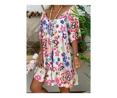Floral Tunic V-Neckline Above Knee Shift Dress (1955401424)