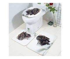 3pcs Bathroom Rug Mats Set 3D Elephant Flannel Soft Anti-slip Shower Toilet Carpet