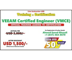 VMCE official Training (50% Discount) VEEAM CERTIFIED ENGINEER