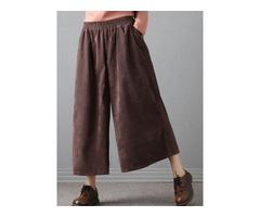 Women Vintage Loose Elastic Waist Corduroy Wide Leg Pants