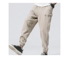 Men's Baggy Vintage Cotton Fit Drawstring Jogger Pants