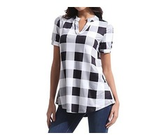 Plus Size Tartan Casual Collar Short Sleeve Blouses (1645403215)