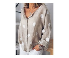 Polka Dot Casual Collar Long Sleeve Blouses (1645403205)