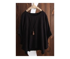 Plus Size Solid Casual Round Neckline 3/4 Sleeves Blouses (1645403221)