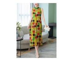 Color Block Round Neckline Sleeveless Midi X-line Dress (1955403327)