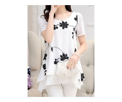 Floral Casual Round Neckline Short Sleeve Blouses (1645402599)