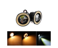 Pair 3/2.5Inch LED Fog Lights with COB Halo Angel Eyes Ring 12V 20W 2400LM for SUV ATV Off Road Car
